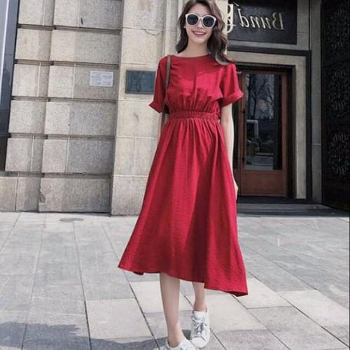 Đầm maxi đỏ cột nơ sau lưng dưới 60kg