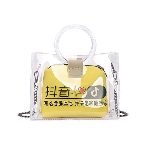 Túi Trong suốt thời trang cá tính 2 màu đen, vàng N8471