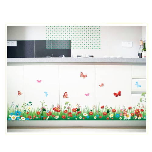 Decal trang trí chân tường Hoa Sắc Màu mới