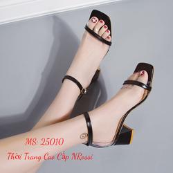 Giày cao gót nữ vuông 5 phân quai ngang trong suốt size lớn 40 41 42 43 NRossi