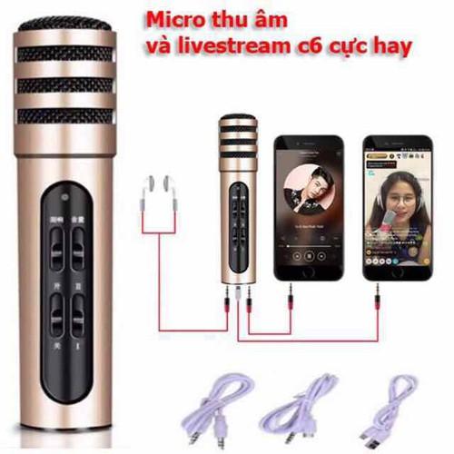 MIC THU ÂM LIVESTREAM MINI C6- 3 trong 1 livestream cực hay bh 6 tháng