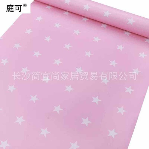 10m giấy dán tường nền hồng kết hợp sao 5 cánh trắng- khổ rộng 45cm- sẵn keo