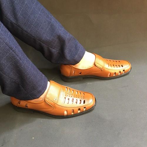 Giày lười hè nam da bò thật bảo hành da 1 năm