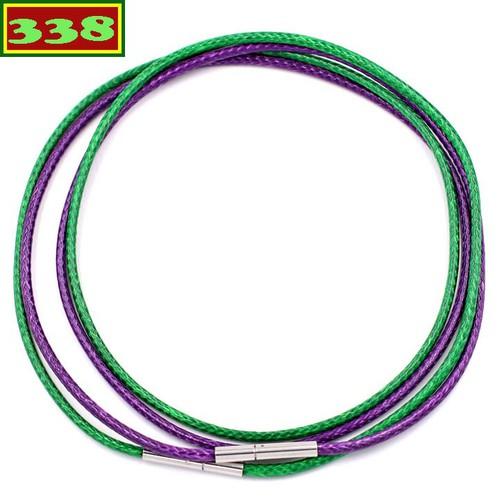 Combo 2 dây vòng cổ cao su xanh lá tím DCSXLI1 - Dây dù bọc cao su