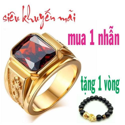 nhẫn nam rồng đá đỏ