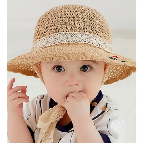 Mũ cói buộc dây cho bé
