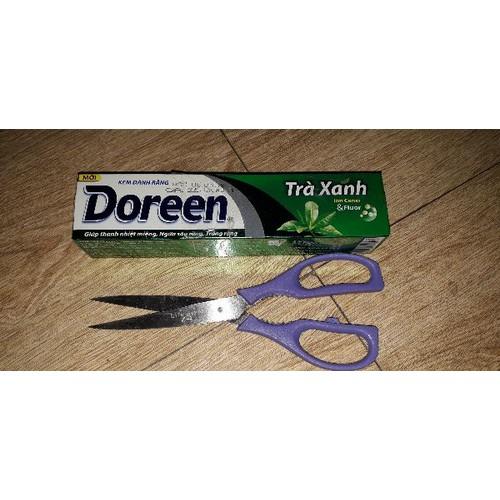 Set 1 tuýp kem đánh răng Doreen trà xanh 200g và kéo bằng thép