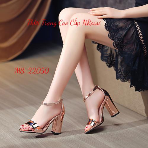 Giày cao gót big size gót vuông 7 phân quai ngang màu đồng size lớn