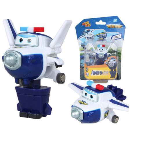 Super Wings đồ chơi đội bay siêu đẳng Robot biến thành máy bay mini Mô hình nhân vật cảnh sát PAUL