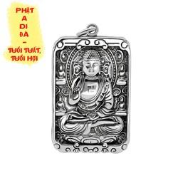 Dây chuyền thẻ phủ bạc mặt phật A Di Đà - Phật bản mệnh người tuổi Tuất, Hợi MT01
