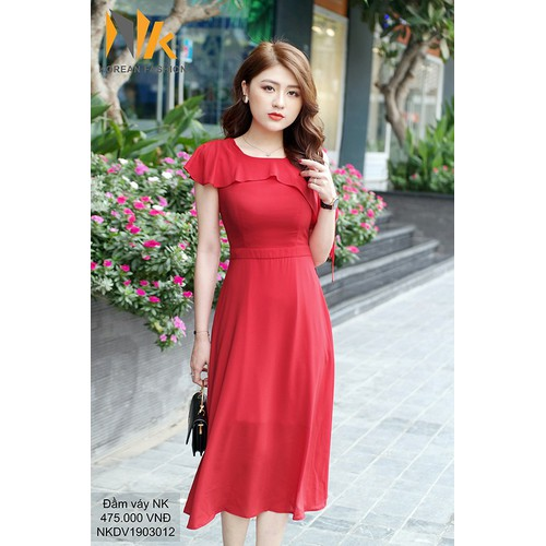 Đầm maxi lệch vai-NK286