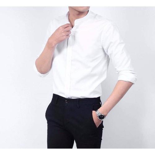 Áo sơ mi dài tay cổ trụ dáng Hàn Quốc màu trắng