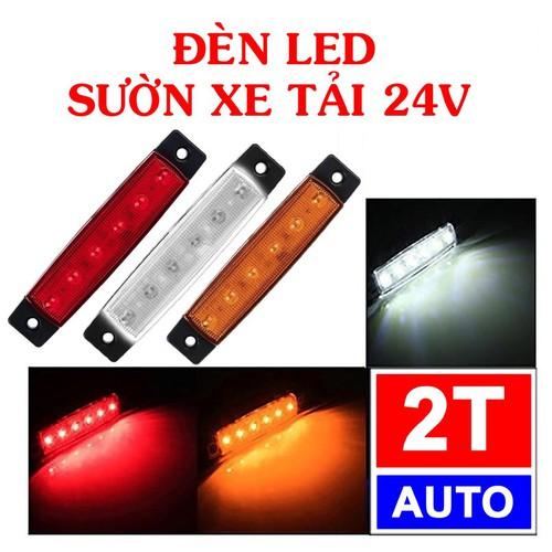 Đèn LED sườn xe, đuôi xe tải 24v chống nước - MÀU TRẮNG