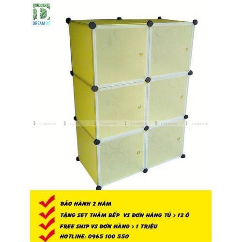 Tủ nhựa ghép thông minh giá rẻ 6 ô màu vàng cửa trắng vân trong