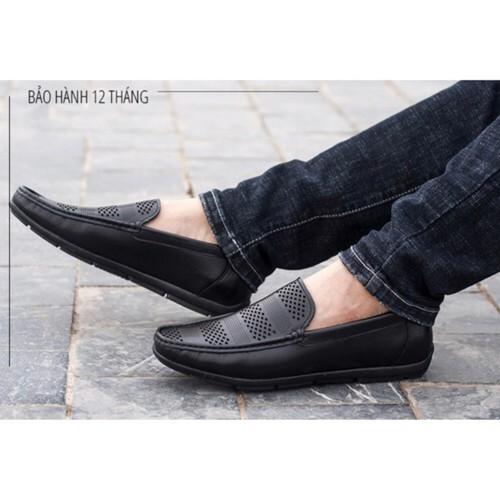 Giày lười da nam , giày có lỗ thông hơi, đế cao su , khâu chắc chắn