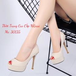 Giày cao gót big size gót nhọn đúp mũi 10 cm màu kem bóng size ngoại cỡ NRossi