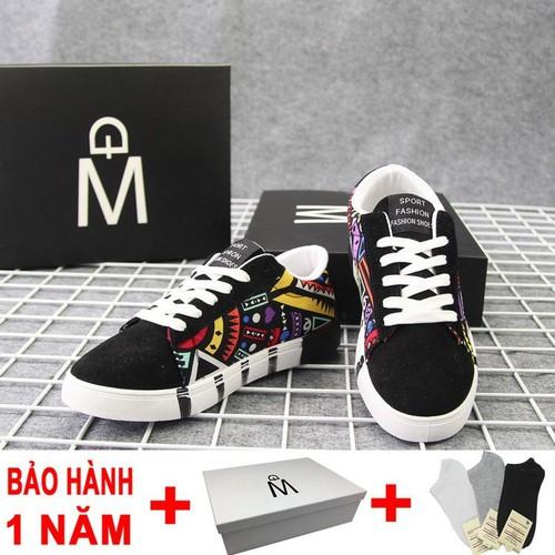 Giày nam g378 đế cao su chống mòn thân in hoạ tiết  Muidoi|giày thể thao| giày sneaker
