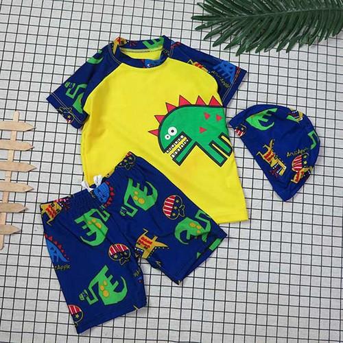 Bộ áo và quần đi bơi khủng long dễ thương kèm nón size nhỏ và đại