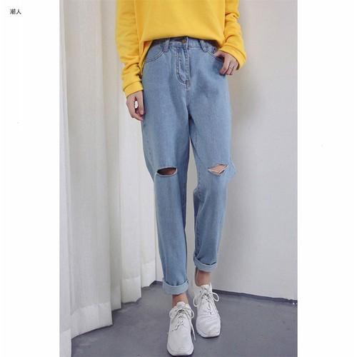 ⚡️[CỰC HOT] Quần Baggy Jeans Nữ Phối Rách Thời Trang OHS3096