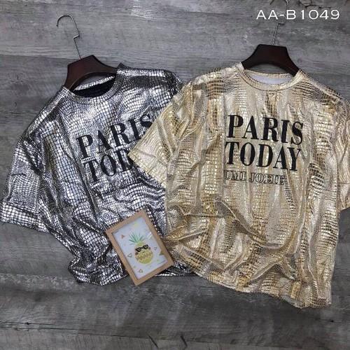 Áo nhũ ánh kim tay con phối chữ hàng Quảng Châu
