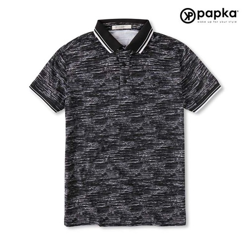 Áo nam  hoa văn vằn  1087 Papka - Đen