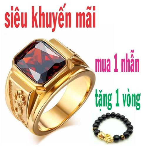 nhẫn nam đeo tay cao cấp, phong thủy, trừ tà, may mắn, thu hút tài lộc, đính đá màu vàng 24k tặng vòng đá tỳ hưu