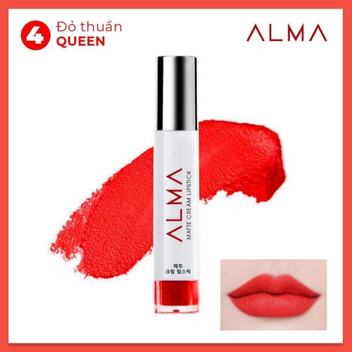 Son kem lỳ Alma matte cream lipstick số 4 Đỏ thuần tặng kèm 1 dưỡng môi Alma và 1 cột tóc hàn quốc