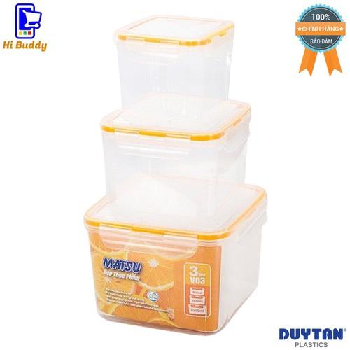 Bộ 3 Hộp Nhựa Vuông Đựng Thực Phẩm Duy Tân Matsu V03 800ml-1500ml-3000ml No.445 No.448 No.451