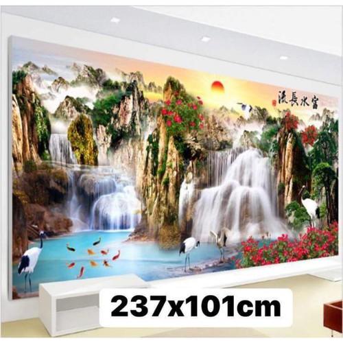 tranh thêu chữ thập khổ lớn phong cảnh 237x1m