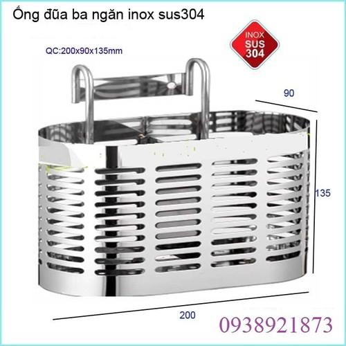 ỐNG ĐỰNG ĐŨA , KỆ ĐỂ ĐŨA 3 NGĂN INOX 304 CAO CẤP - OD3I3
