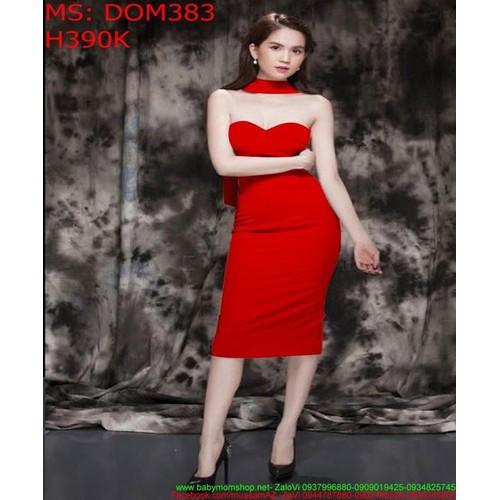 Đầm body cúp ngực đỏ sang trọng nổi bật DOM383