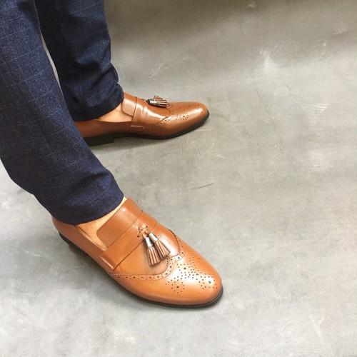 Giày lười nam da bò thật chuông nhỏ bảo hành da 1 năm