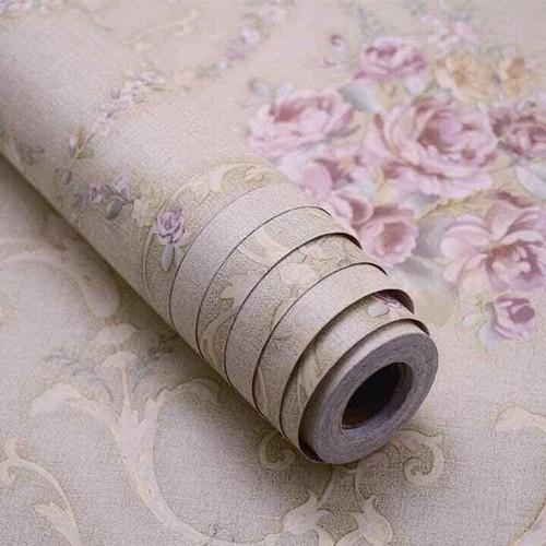 20m giấy dán tường  2c chùm hoa hồng nền vàng
