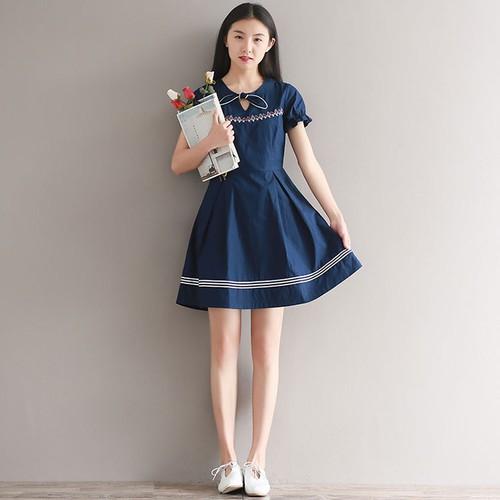 Đầm Baby Doll Nữ Thắt Nơ Cổ 908 - 8808538 , 17984607 , 15_17984607 , 280000 , Dam-Baby-Doll-Nu-That-No-Co-908-15_17984607 , sendo.vn , Đầm Baby Doll Nữ Thắt Nơ Cổ 908