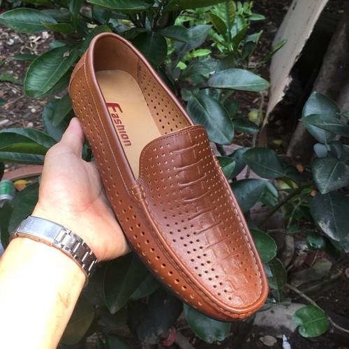 Giày da nam| Giày lười hè nam da bò thật bảo hành da 1 năm