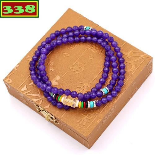 Vòng chuỗi 108 hạt đá thạch anh tím VMTTAI1 6 ly kèm hộp gỗ - Tràng chuỗi niệm Phật