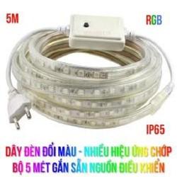 Dây đèn đổi màu, Nhiều hiệu ứng chớp, Chống mưa, 5M gắn sẵn nguồn.
