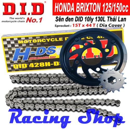 Nhông sên dĩa RECTO nhông 15T dĩa 44T cho Honda BRIXTON – Sên Đen 130L 10ly DID HDS - Thái Lan