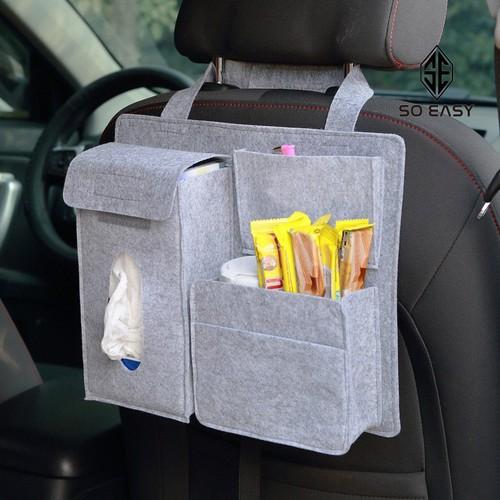 Túi vải nỉ đa năng đựng thức ăn, đồ dùng, dụng cụ, bình nước, ô dù, khăn giấy treo sau ghế lái hoặc ghế phụ xe hơi,ôtô, xe tải, xe khách_C041-TSG
