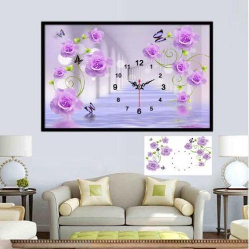 tranh đính đá đồng hồ hoa hồng tuyệt đẹp 80-50cm