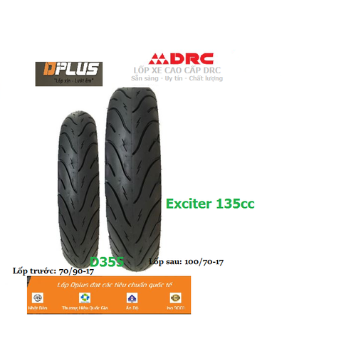 Cặp Lốp xe Exciter 135cc 70*90-17 & 100*70-17 CÔNG NGHỆ NHẬT BẢN JIS