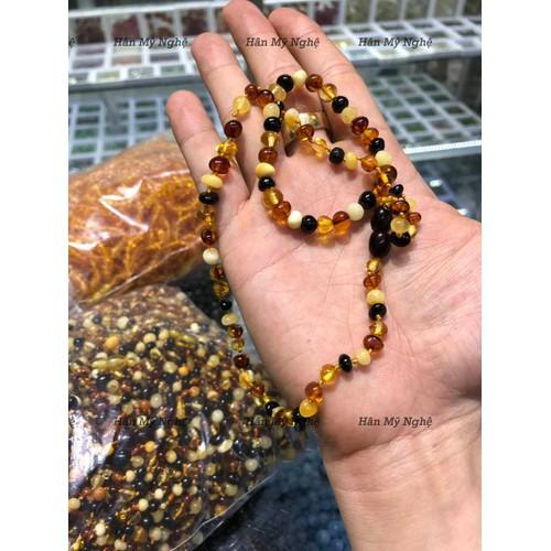 combo vòng cổ +vòng tay hổ phách em bé từ 3 tháng đến 2 tuổi amber úc tự nhiên