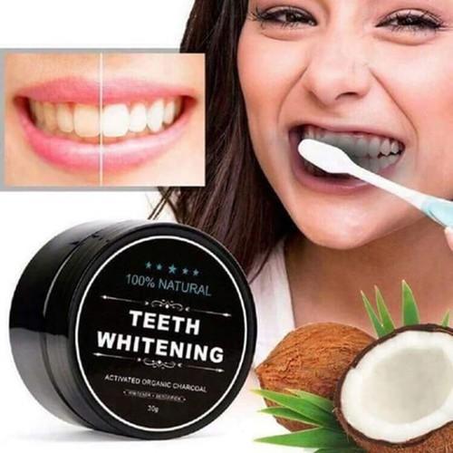 COMBO 2 Bột Đánh Làm Trắng Răng Teeth Whitening 30g - Bột Trắng Răng Than Củi và dầu dừa tự nhiên