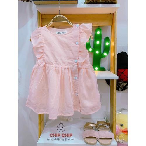 Đầm Za-ra vai bèo hồng cam cho bé 9m - 5y
