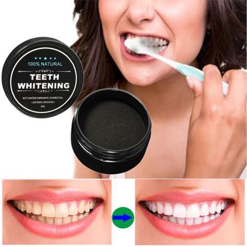 Bột Đánh Làm Trắng Răng Teeth Whitening 30g - Bột Trắng Răng Than Củi và dầu dừa tự nhiên