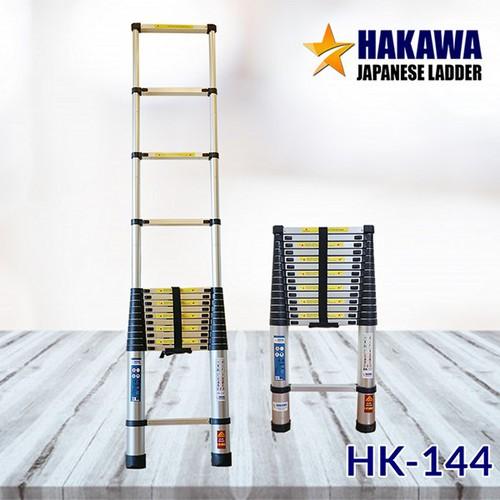 Thang nhôm rút cao cấp 4m4 - thang rút Nhật Bản HAKAWA HK144- Bảo hành 2 năm