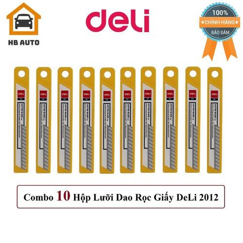 Combo 10 Hộp Lưỡi Dao Rọc Giấy DeLi 2012 80mmx9mmx0.4mm – 100 Lưỡi dao