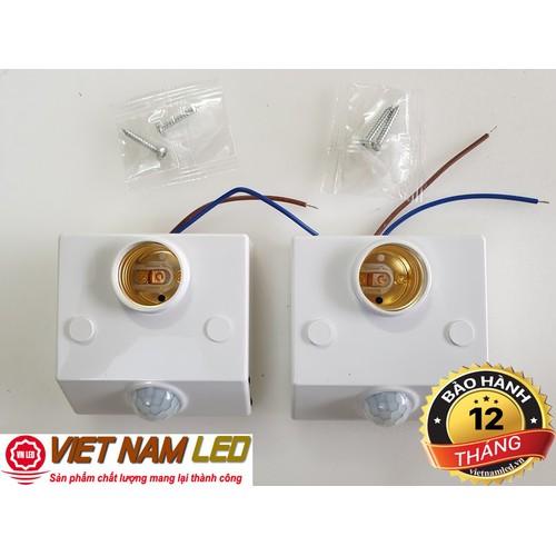 Bộ 2 Công tắc đui đèn cảm biến chuyển động gắn tường đui xoáy