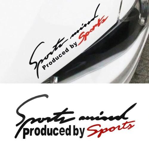 Tem dán Sport mind trang trí nắp capo ô tô Mầu Đen Đỏ