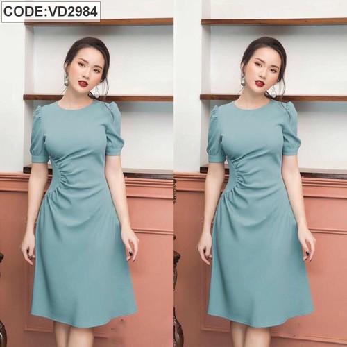 Đầm suông xanh xoắn eo đơn giãn VD2984